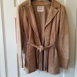 Vintage Suede Belted Jacket 8 Taupe